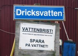 Vattenbrist-skylt