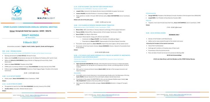 CPMR Agenda
