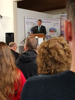 PM Leo Varadkar speakes to Islanders and gathered dignitaries